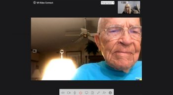 Elderly man on a telehealth conference