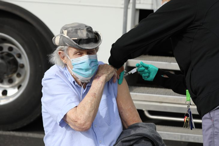 A Veteran receives a COVID-19 vaccine at a Cottonwood Community Based Outpatient Clinic event in Arizona.