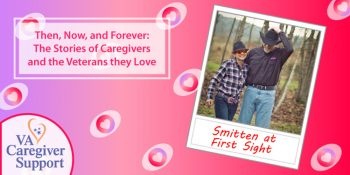 Valentine card with two Veterans amongst the trees
