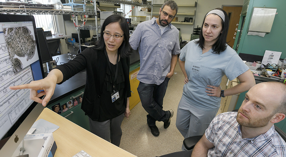 (Left to right) Dr. Miranda Lim, Nadir Balba, Carolyn Jones, Ph.D., and Jonathan Elliott, Ph.D., talk at their research lab at the Portland VA Health Care System, May 8, 2019. Lim is an assistant professor of neurology, medicine, behavioral neuroscience and occupational health sciences in the OHSU School of Medicine. She and her team research how sleep disruption during development affects spine density later in life. (OHSU/Kristyna Wentz-Graff)