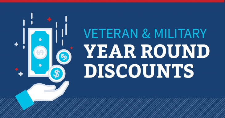 graphic for veteran and military year round discounts
