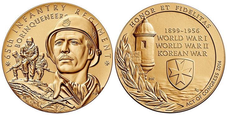 The obverse (heads side) and reverse (tails side) of the Borinqueneers Congressional Gold Medal.