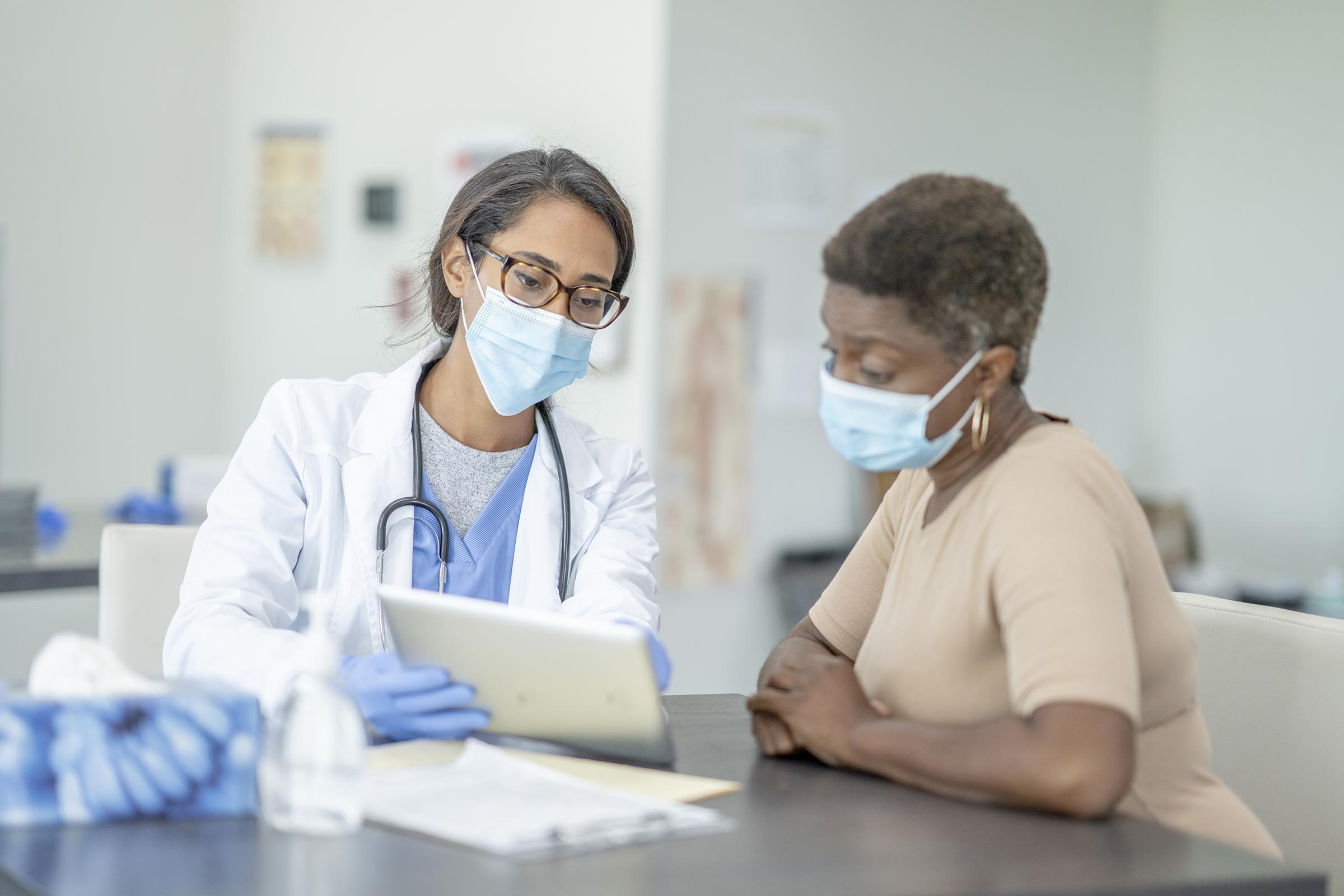 Doctor and patient during exam