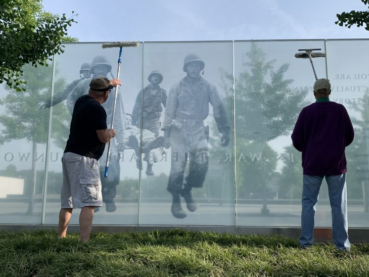 DAV Chapter 10 members clean the American Veterans Disabled for Life Memorial in Washington, D.C., May 22.