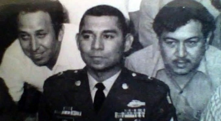 Army soldier in uniform with friends circa 1955