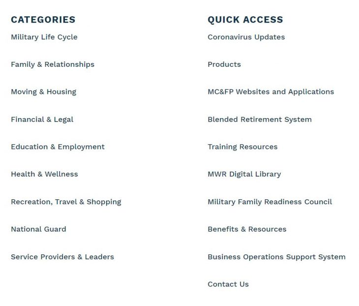 Military OneSource resources available.
