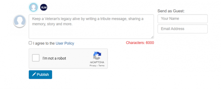 Visitors can leave a tribute as either a guest user or by making and using a VLM account.