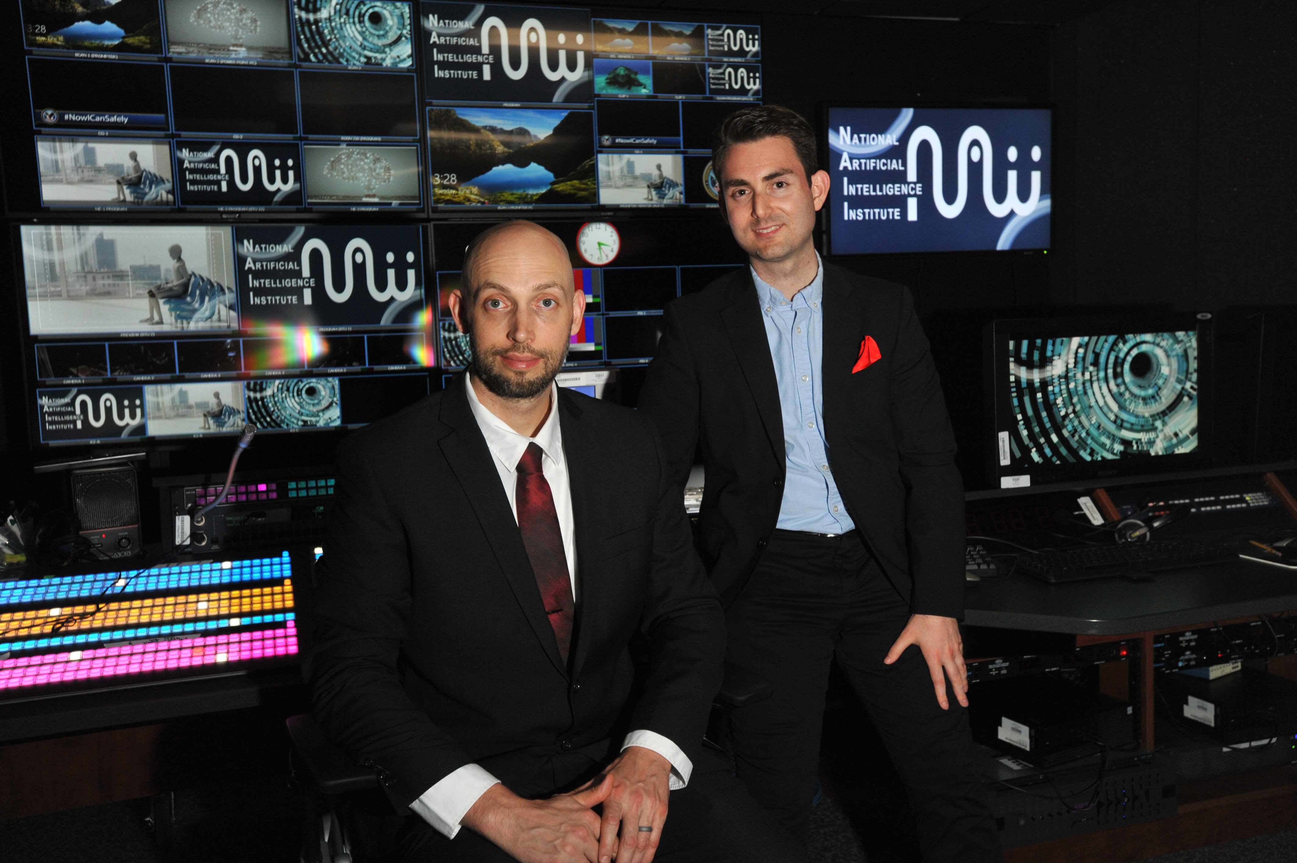 Tim Strebel (left) worked with Dr. Christos Makridis, a senior research advisor at VA's National Artificial Intelligence Institute, to create the COVID-19 prognostic tool.