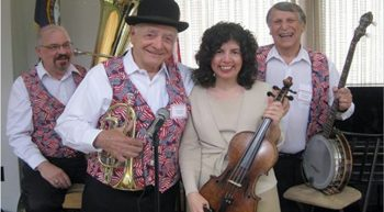 Lady with viola, 3 men with colorful vests and instruments