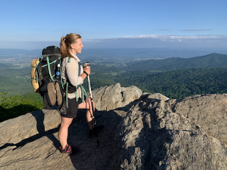 Air Force Veteran Emerald Ralston overlooks the Shenandoah Valley during a stop at Mary's Rock Summit in Shenandoah National Park.