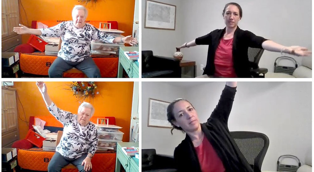 Four photos of PT coach virtually assisting elderly female at home