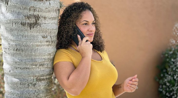 A woman talking on a phone