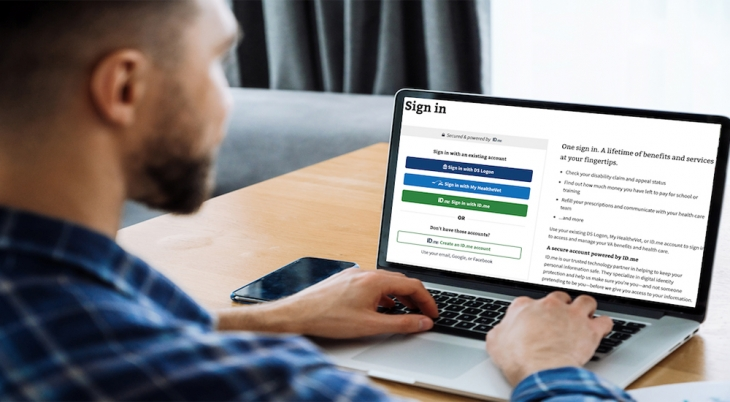 Man online schedule medical appointment on laptop