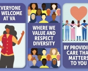 Graphic poster of people and diversity slogans