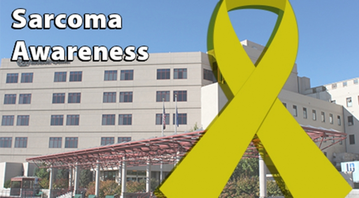 Sarcoma cancer banner with a VA hospital in the background