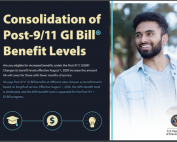 A student stands next to information about the consolidation of Post-9/11 GI Bill Benefit levels.