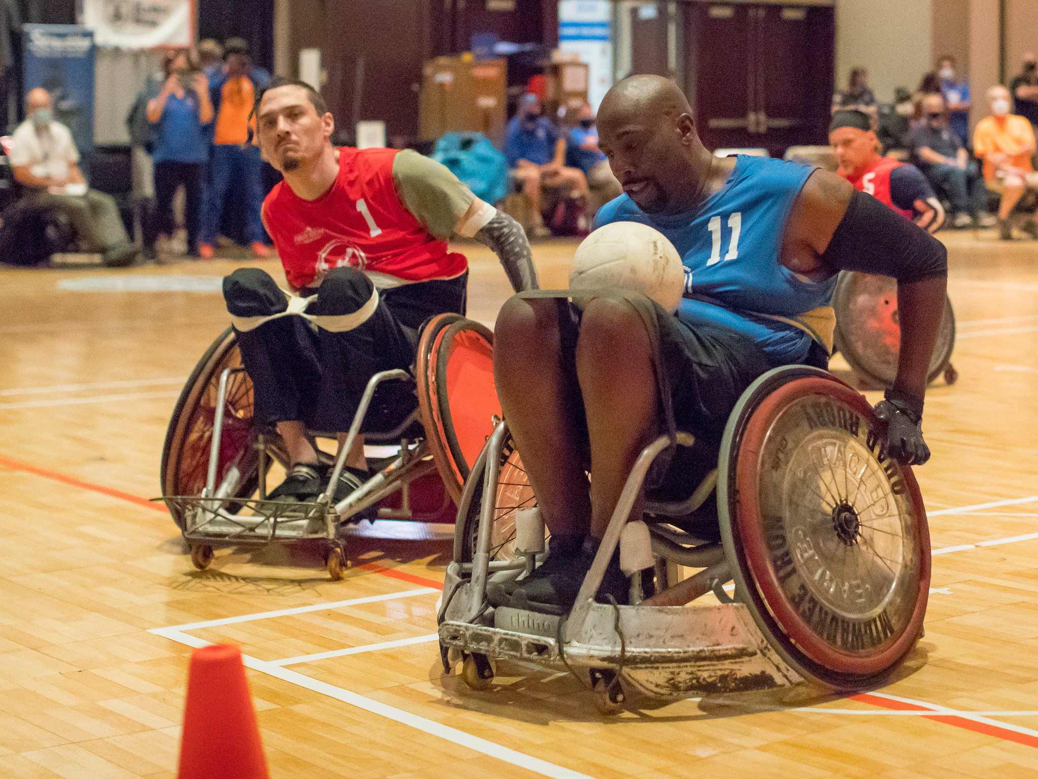 Johnny Holland, here on the verge of scoring, came out of retirement to play wheelchair rugby for the first time in 15 years.