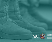 Combat boots overlaid by teal, which represents support for military sexual trauma victims.