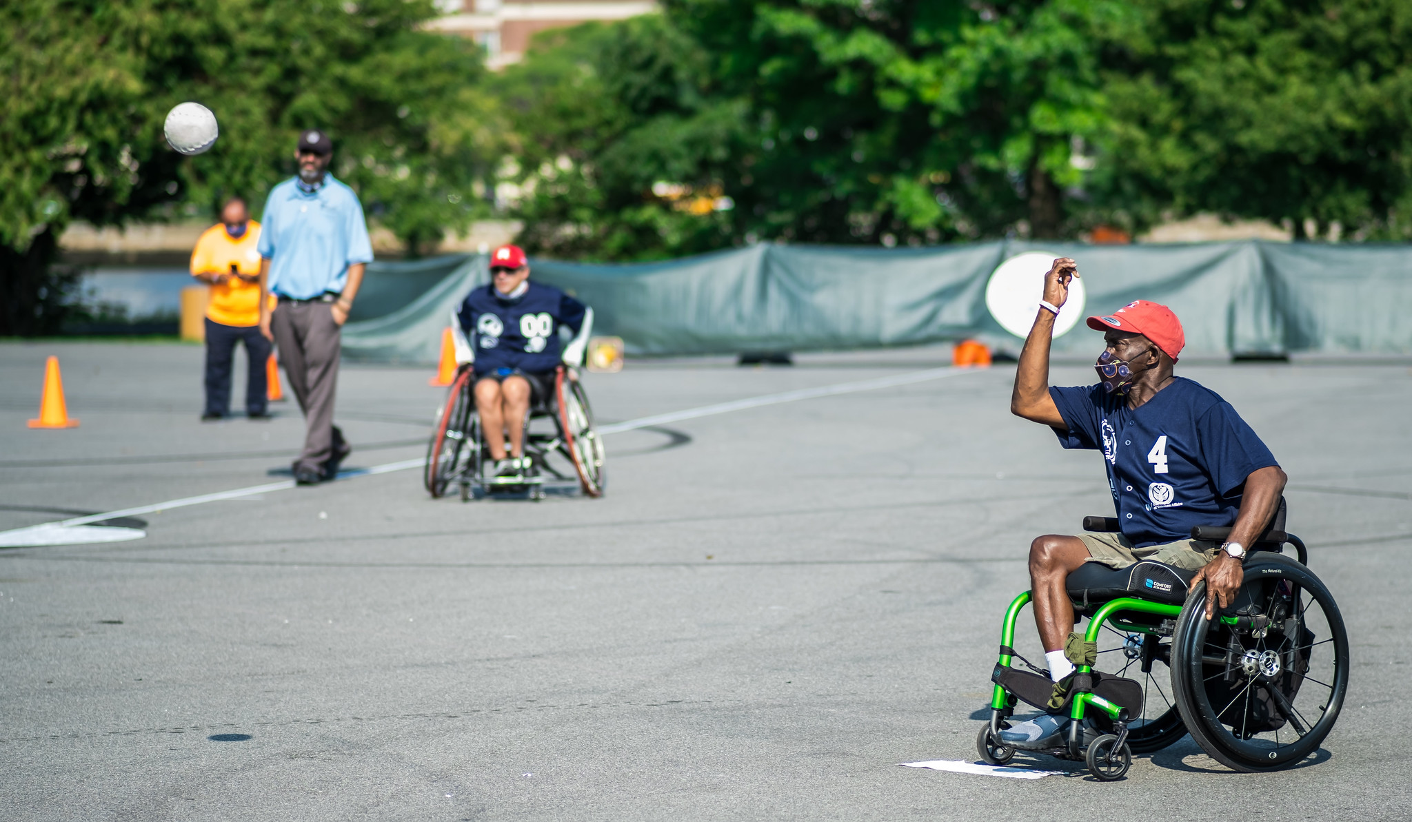 Air Force Veteran Anthony Evans of the Mets pitches during wheelchair softball competition at the 40th National Veterans Wheelchair Games.