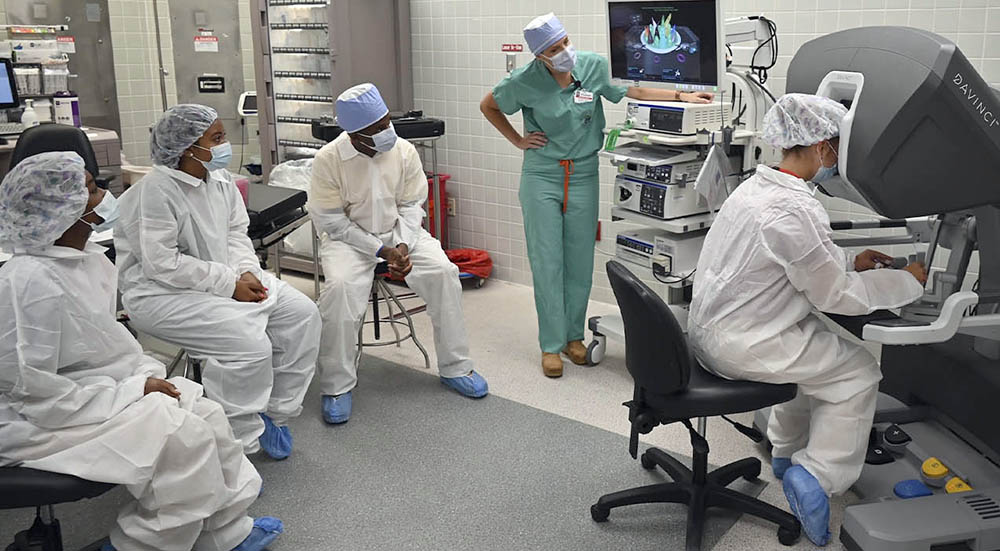 Local students in a robotic surgery learning session