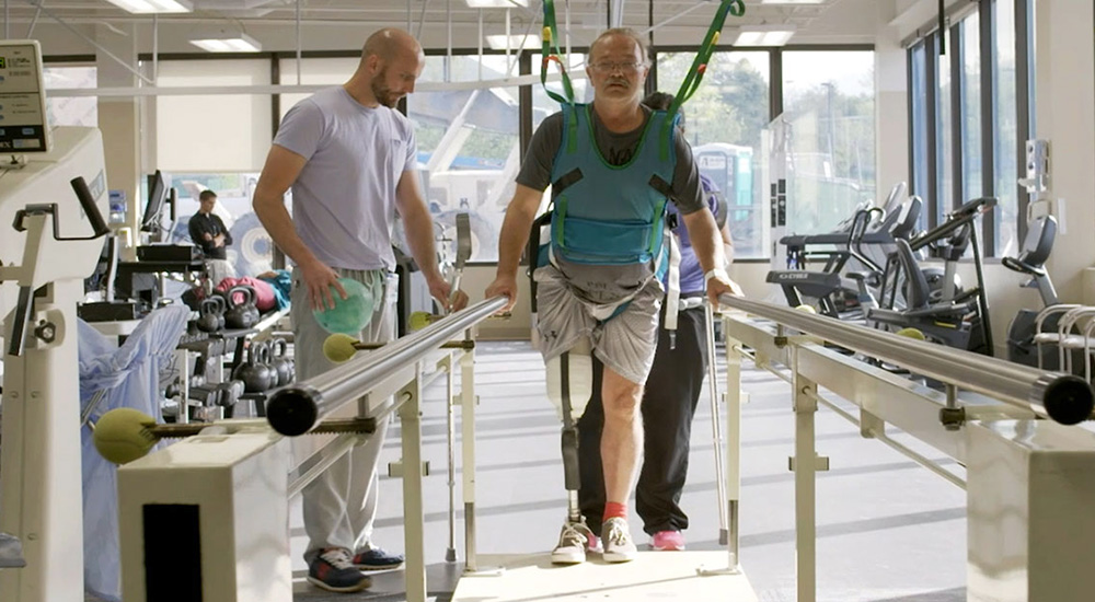 Physical therapist teaches patient to walk, job opportunities