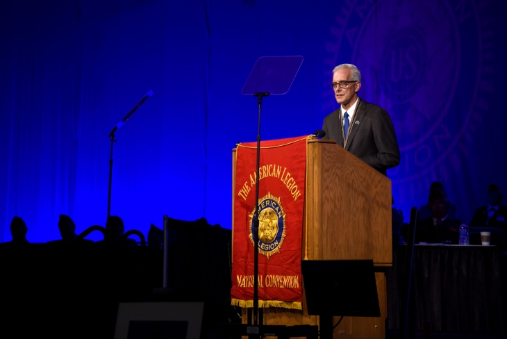 VA Secretary Denis McDonough speaks at the American Legion National Convention Aug. 31 in Phoenix, Arizona. As the nation watches the military mission end in Afghanistan, McDonough said VA is here for all Veterans who need help.