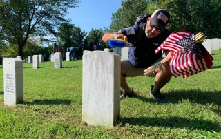 Volunteers from across the U.S. gathered in 65 VA national cemeteries for a National Day of Service Sept. 10. The cleaning efforts included thousands of volunteers cleaning tens of thousands of graves, including 47 killed Sept. 11, 2001.