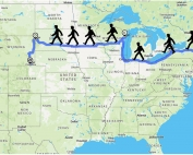 US map with figures walking across states