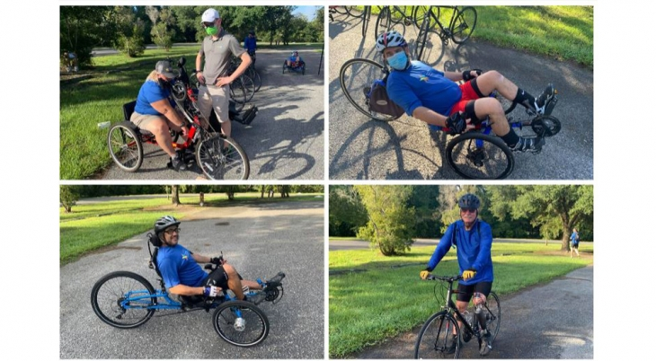 four Veterans on adaptive bicycles