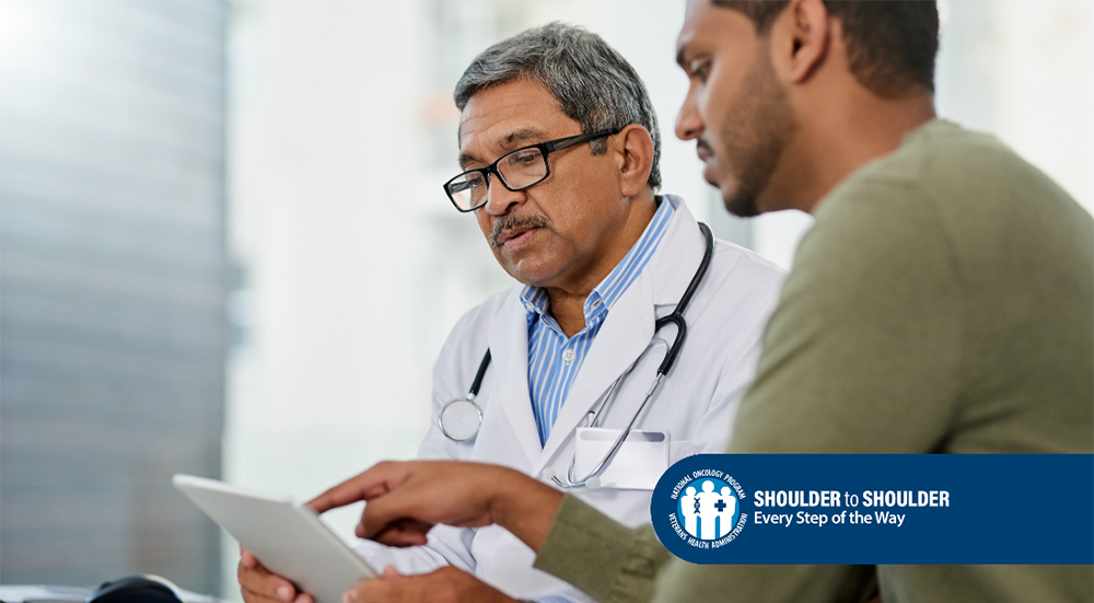 Doctor and patient discuss cancer test results